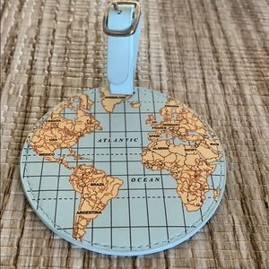 Light Mint Globe with Map Luggage Tag